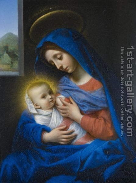 The Madonna Suckling The Christ Child by Carlo Dolci - Reproduction Oil Painting
