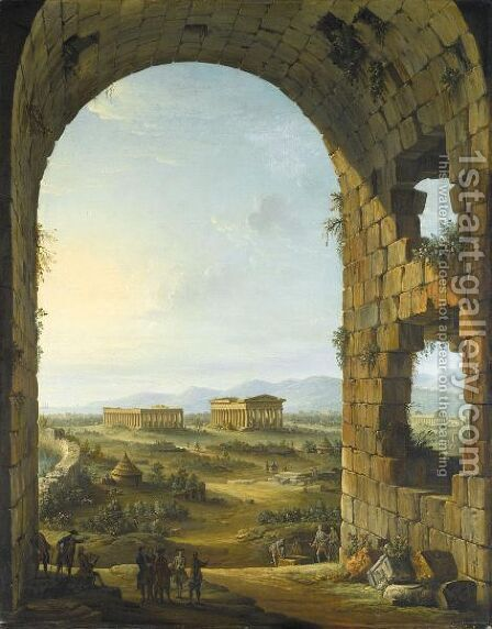 A View Of Paestum In Evening Light With Merry Travellers And An Artist Sketching Below A Stone Arch by Antonio Joli - Reproduction Oil Painting