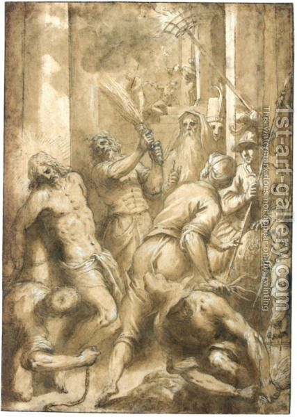 The Flagellation Of Christ by Jacopo d'Antonio Negretti (see Palma Giovane) - Reproduction Oil Painting