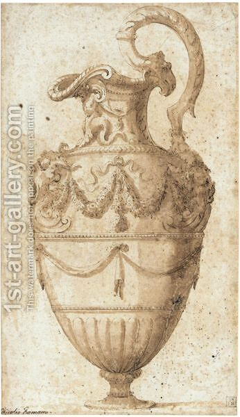 An Elaborate Ewer by (after) Francesco De' Rossi (see Salviati, Cecchino Del) - Reproduction Oil Painting