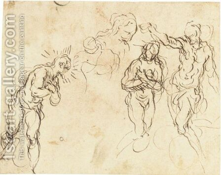 Sheet Of Figure Studies For A Baptism Of Christ by Jacopo d'Antonio Negretti (see Palma Giovane) - Reproduction Oil Painting