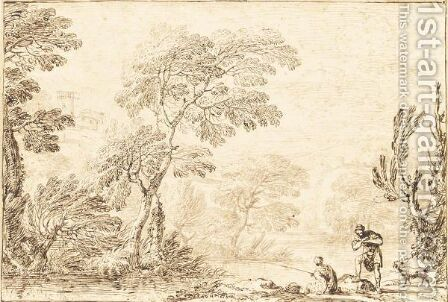 River Landscape With A Man Fishing, A Man And A Dog Nearby by Alessandro Grimaldi - Reproduction Oil Painting