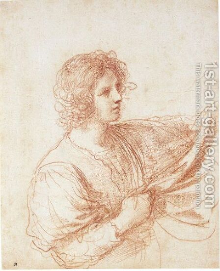 Study Of A Youth Holding A Swag Of Drapery by Giovanni Francesco Guercino (BARBIERI) - Reproduction Oil Painting