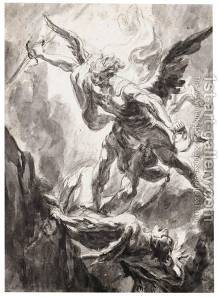 Saint Michael The Archangel Slaying Satan by (after) Georg Wilhelm Neunhertz - Reproduction Oil Painting