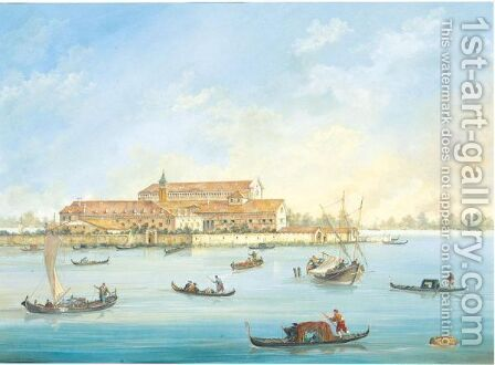 Gondoliers And Sailing Boats Before An Island In The Venetian Lagoon by Italian School - Reproduction Oil Painting