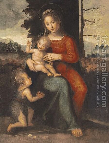 The Madonna And Child With Saint John The Baptist In A Landscape by (after) Fra Bartolommeo Della Porta - Reproduction Oil Painting