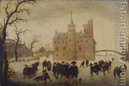 A Winter Landscape With Figures Skating Before A Manor by (after) Anthonie Verstraelen - Reproduction Oil Painting