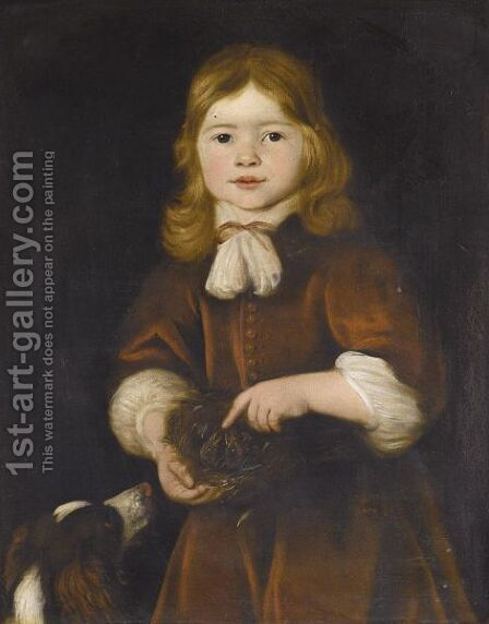 Portrait Of A Young Boy, Half Length, Wearing Red And Holding A Bird's Nest, Together With A Spaniel by (after) Jacob Adriaensz. Backer - Reproduction Oil Painting