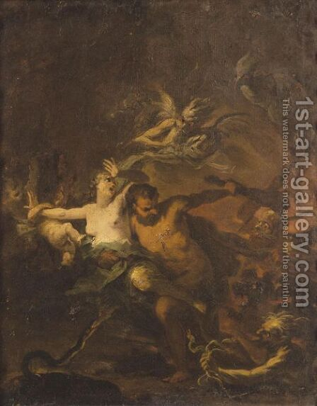 Hercules Leading Alcestis From The Underworld by (after) Domenicus Van (Ascanius) Wijnen - Reproduction Oil Painting