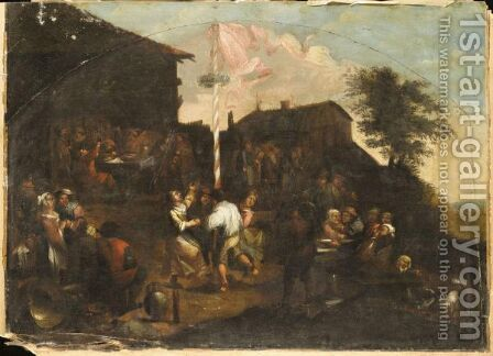 A Village Fete With Figures Outside A Tavern Merrymaking And Dancing Round A Maypole by (after) Gillis Van Tilborch II - Reproduction Oil Painting