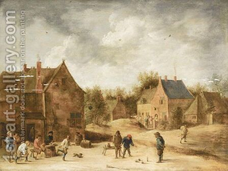 A Village Scene With Peasants Playing Kegelen by (after)  David The Younger Teniers - Reproduction Oil Painting