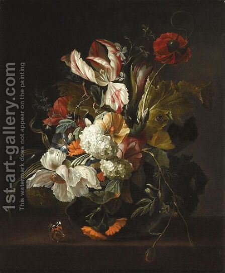 A Still Life With Tulips, Poppies, Morning Glory And Other Flowers, In A Vase On A Ledge by (after) Rachel Ruysch - Reproduction Oil Painting