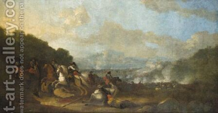 A Battle Scene With Cavalry Skirmishing In The Foreground by Italian School - Reproduction Oil Painting