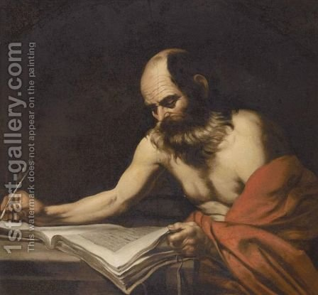 Saint Jerome 2 by (after) Jusepe De Ribera - Reproduction Oil Painting