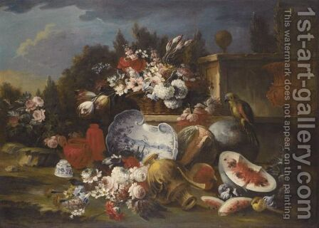 A Still Life With A Basket Of Flowers On A Stone Ledge, Together With A Porcelain Dish And Various Vases by (after) Francesco Lavagna - Reproduction Oil Painting