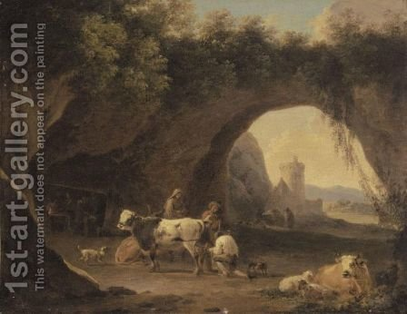 A Grotto With Cattle And Figures, A Forge Beyond by (after) Willem Romeyn - Reproduction Oil Painting