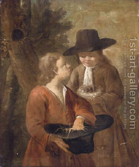 A Landscape With Two Boys, One Holding A Bird's Nest And The Other Holding A Hat Filled With Straw by Dutch School - Reproduction Oil Painting