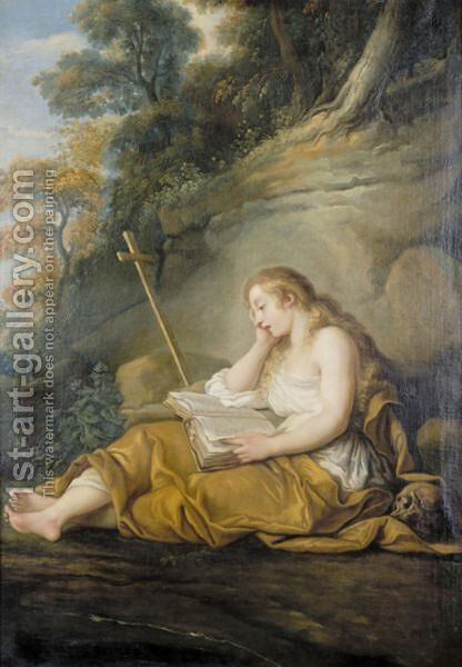 The Penitent Magdalene by (after) Francois Lemoine (see Lemoyne) - Reproduction Oil Painting