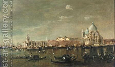 Venice, A View Of The Entrance Of The Grand Canal With Santa Maria Della Salute by (after) Francesco Guardi - Reproduction Oil Painting