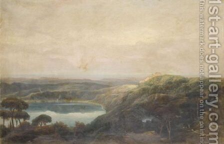 A View Of Lake Nemi, Looking Towards Genzano by (after) Carlo Labruzzi - Reproduction Oil Painting