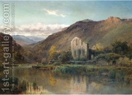 Vale Crucis Abbey, The Vale Of Llangollen by Alfred de Breanski - Reproduction Oil Painting