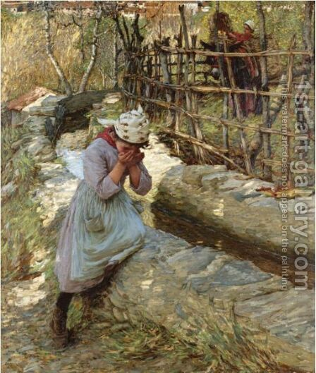 From A Ligurian Spring by Henry Herbert La Thangue - Reproduction Oil Painting
