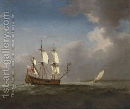 An English Man-Of-War In Three Positions by (after) Willem Van De, The Younger Velde - Reproduction Oil Painting