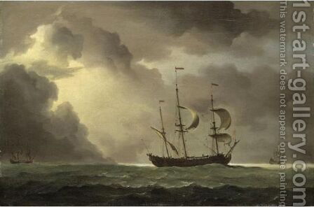 A Man-Of-War And Other Shipping In An Approaching Storm by Charles Brooking - Reproduction Oil Painting