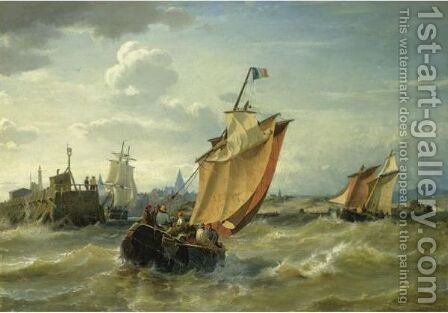 Fishing Boats Approaching Harbour by Carl Frederik Sorensen - Reproduction Oil Painting