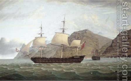 H.M. Frigate Phoenix Leaving St Helena With Jamestown Off Her Stern by James Fulton Pringle - Reproduction Oil Painting