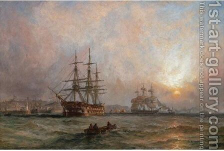 A Man Of War At Anchor Off Scarborough by Claude T. Stanfield Moore - Reproduction Oil Painting