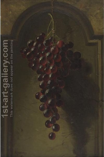 Hanging Grapes In A Niche by Andrew John Henry Way - Reproduction Oil Painting