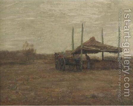 Farm Chores by Continental School - Reproduction Oil Painting