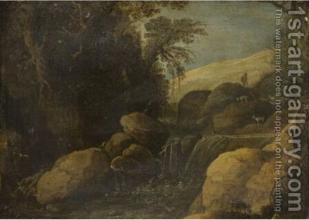 A Landscape With A Goat Herder And His Flock Near A Waterfall by (after) Paul Bril - Reproduction Oil Painting