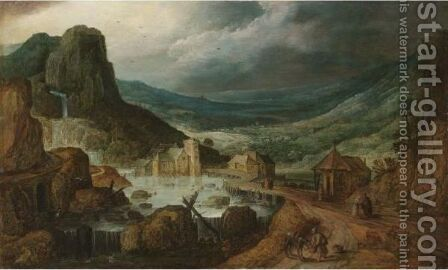 A Mountainous Landscape With A Wooden Bridge Crossing A River, And A Monk Feeding His Donkey by (after) Joos De Momper - Reproduction Oil Painting
