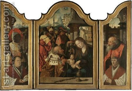 A Triptych The Adoration Of The Magileft Wing Melchior by (after) Pieter Coecke Van Aelst - Reproduction Oil Painting