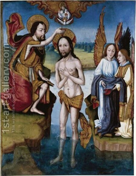 The Baptism Of Christ by Alvar Sanchez - Reproduction Oil Painting