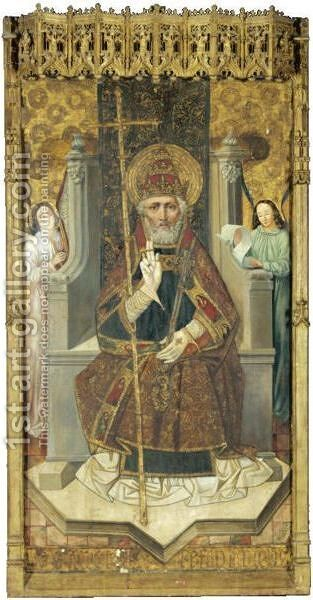 Saint Peter Enthroned With Angels by (after) Bartolome Bermejo - Reproduction Oil Painting