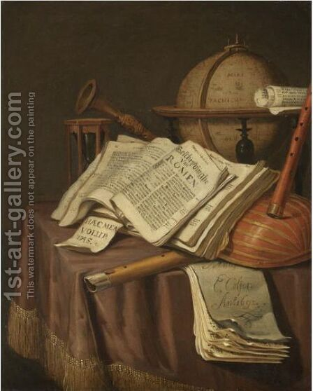 A Vanitas Still Life With A Globe, An Hour-Glass, A Book And A Score, Together With Various Other Musical Instruments by Edwart Collier - Reproduction Oil Painting