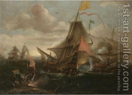 A Naval Engagement Between Spanish Men-O'-War And Turkish Galleys In Heavy Seas by Andries Van Eertvelt - Reproduction Oil Painting
