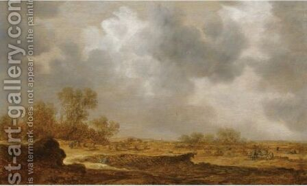 An Extensive Dune Landscape With A Peasant Woman Bailing Hay And Two Farmers Conversing To The Right by Jan van Goyen - Reproduction Oil Painting