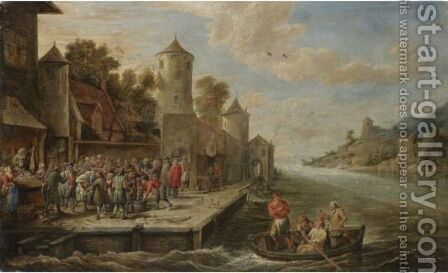A Quay On A River Estuary With A Fishmarket by David The Younger Teniers - Reproduction Oil Painting