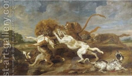 A Lion Hunt by (after) Frans Snyders - Reproduction Oil Painting