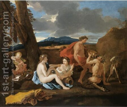 A Bacchanal With Satyrs And Nymphs In A Landscape by (after) Nicolas Poussin - Reproduction Oil Painting