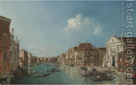 Venice, A View Of The Grand Canal Looking South-East With The Church Of San Stae And The Fabbriche Nuove by (after) (Giovanni Antonio Canal) Canaletto - Reproduction Oil Painting