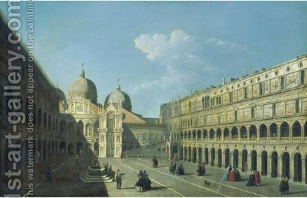 Venice, The Courtyard Of The Palazzo Ducale by (after) (Giovanni Antonio Canal) Canaletto - Reproduction Oil Painting