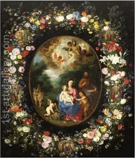 The Holy Family With The Infant Saint John The Baptist And Angels In A Landscape, Within A Garland Of Flowers by Jan, the Younger Brueghel - Reproduction Oil Painting