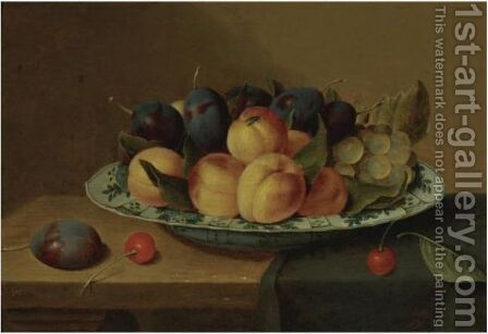 A Still Life Of Apricots And Plums In A Wan-Li Porcelain Bowl by Jacob van Hulsdonck - Reproduction Oil Painting