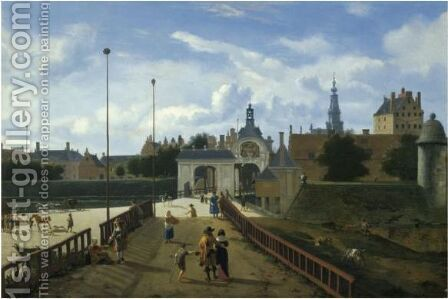 Amsterdam A View Of The Sint Antoniespoort by Jan Van Der Heyden - Reproduction Oil Painting