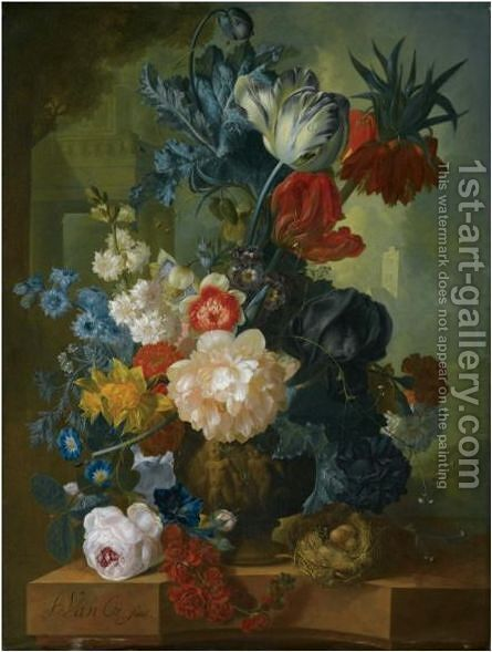 Still Life With A Bouquet Of Flowers In A Sculpted Vase, Including A Parrot Tulip, Morning Glory by Jan van Os - Reproduction Oil Painting